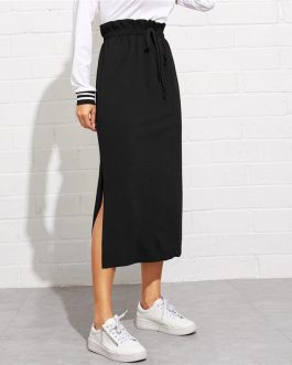 Women Maxi Skirt High Waist Belted Split Hem Midi Skirt