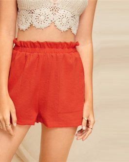 Women Mid Waist Casual Shorts