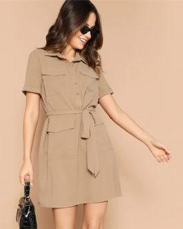 Women Multi-pocket Button Casual Short Sleeve Belted Dress