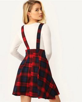 Women Multicolor High Waist Button Front Tartan Mini Skirt