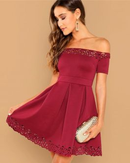 Women Off Shoulder Laser Cut Fit and Flare Mini Dress
