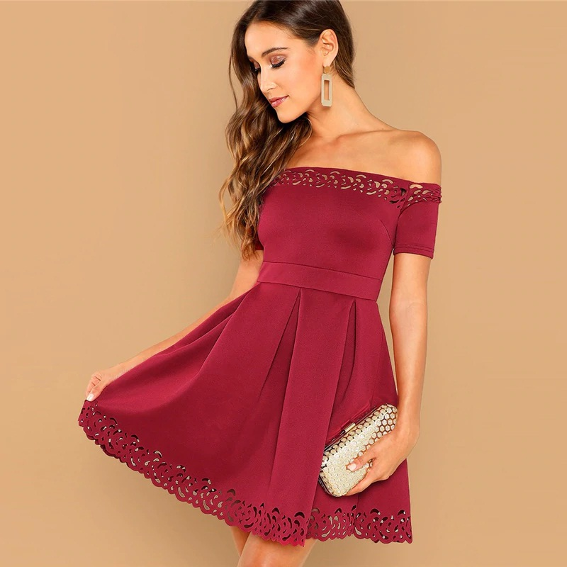 Women Off Shoulder Laser Cut Fit And Flare Mini Dress Power Day Sale Active fit female does stretching exercise, has good flexibility, wears sportswear and sneakers, goes in for sport regularly, looks aside, isolated. women off shoulder laser cut fit and