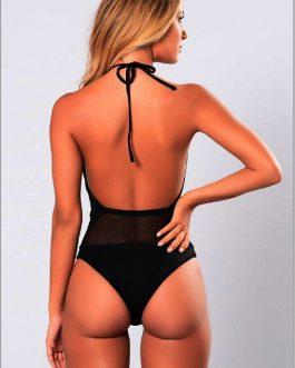 Women One-Piece Solid Halter Beachwear Swimwear