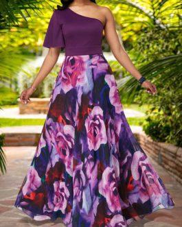 Women One Shoulder Half Sleeve Flower Print Maxi Dress