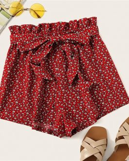 Women Paperbag Waist Slant Pocket Ditsy Floral Shorts