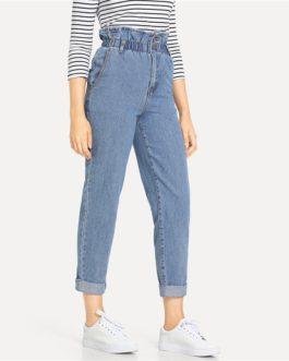 Women Plain Pocket Zipper Elastic Waist Casual Pants Trousers