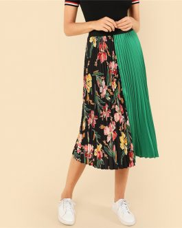 Women Pleated Fashion Polyester Clothing Elastic Waist Skirt