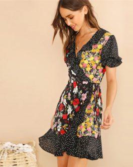 Women Polka Dot And Floral Wrap Flounce Sleeve Short Dress
