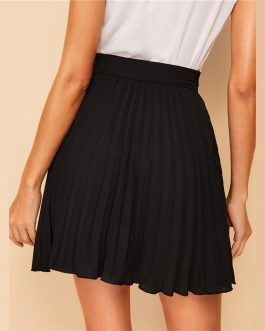 Women Preppy Black Solid Above Knee Skirt