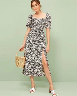 Women Ruffle Trim Boho Square Neck Floral Shirred Dress