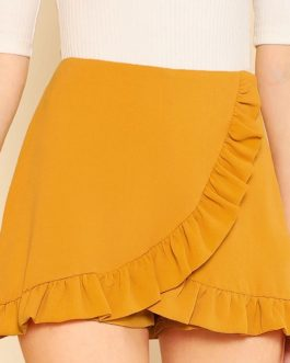 Women Ruffle Trim Overlap Skort Vacation Mid Waist Zipper Fly Shorts