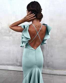 Women Ruffles Butterfly Sleeveless Backless Mermaid Party Dress