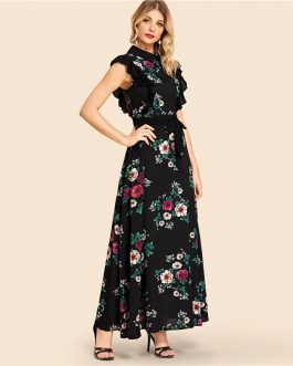Women Self Belted Flower Print Beach Fit and Flare Maxi Dress