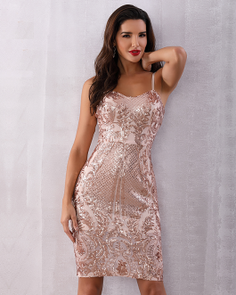 Women Sequined Deep V Neck Club Dress Backless Evening Party Dress