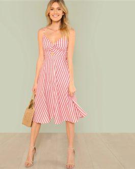 Women Sexy Bohemian Beach Cutout Knot Back Striped Cami Dress