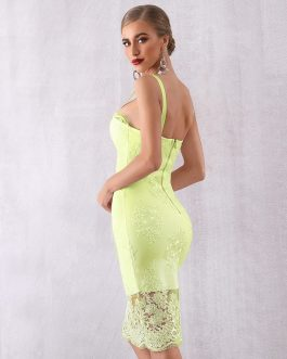 Women Sexy Lace Spaghetti Strap Bodycon Party Dress