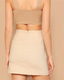 Women Sheath Skirt Mid Waist Above Knee Skirt