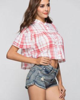 Women Short Sleeve Checkered Print Crop Top