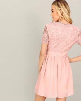 Women Short Sleeve Lace Bodice V Neck Office Lady Short Dress