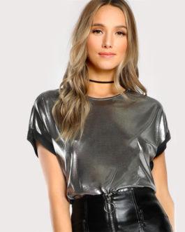 Women Silver Short Sleeve O Neck Regular Fit T-shirt