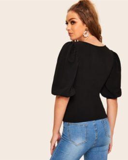 Women Slim Fit Elegant Half Sleeve Solid T shirts
