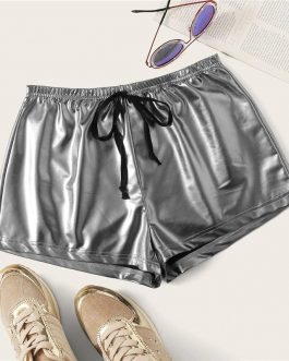 Women Solid Drawstring Waist PU Shorts