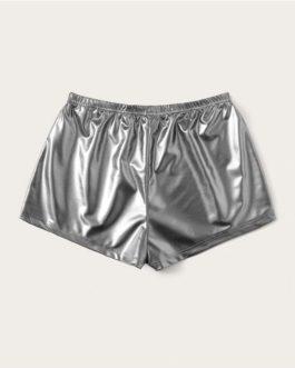 Women Solid Drawstring Waist PU Shorts
