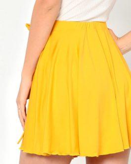Women Solid Yellow Elastic Waist Self Belted Overlap Skirt