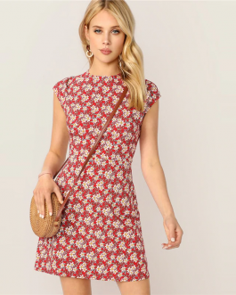 Women Stand Collar Zip Back Ditsy Floral Fit And Flare Short Slim Dress