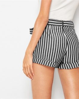 Women Striped Casual Mid Waist Shorts
