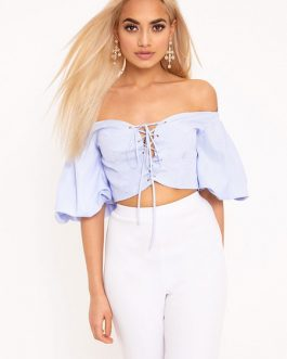 Women Striped Lace Up Off The Shoulder Crop Top