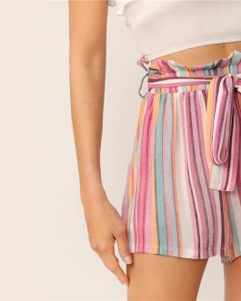 Women Striped Paper bag Waist Slant Pocket Belted Shorts