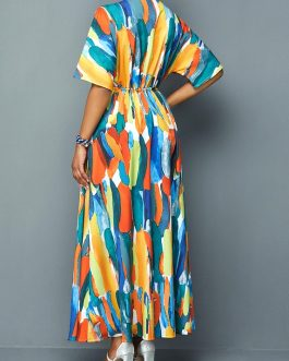 Women Tie Front V Neck Printed Dress
