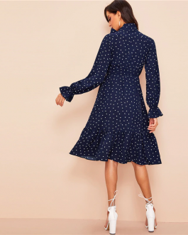 Women Tie Neck Allover Heart Print Flounce Sleeve Midi Dress