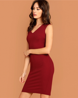 Women V Neck Party Pencil Dress Sleeveless Bodycon Dress
