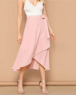 Women Vacation Wrap Belted Casual Beach Midi Skirt