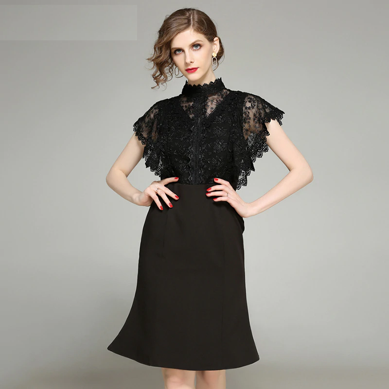 classic fit pretty nice really cheap Women Vestidos sexy bodycon lace short Dress Office Lady casual dress