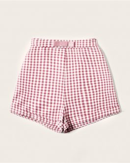 Women Vintage Bow Waist Roll Hem Gingham Shorts