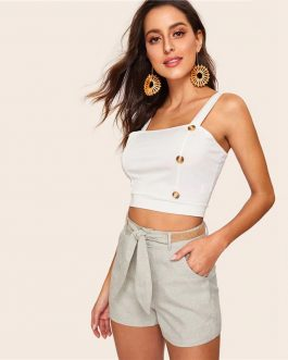 Women Vintage Slant Pocket High Waist Shorts
