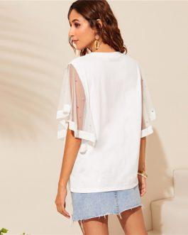 Women White Solid Elegant Half Sleeve Round Neck Tshirt