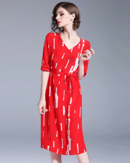 Women elegant Chiffon casual loose dress Striped party dress