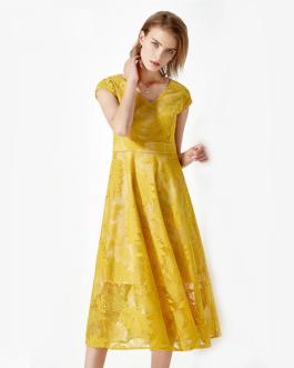 Women elegant lace print Vestidos long party dress