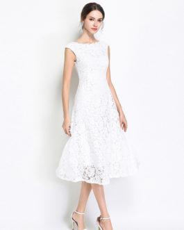 Women lace Vestidos Hollow Out party dress Sweet beach dress