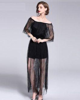 Women mesh elegant sexy lace long party dress