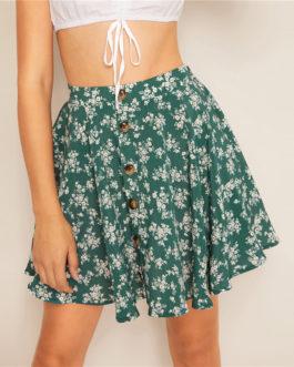 Womens Elegant Bohemian Casual Mini Skater Skirt