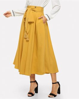 Womens Elegant Casual Long A Line Plain Skirt