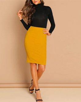Women Ginger Solid Elegant Mid Waist Pencil Skirt