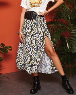 Womens Mid Waist Casual Vacation Sexy Flared Long Skirt