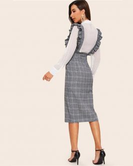 Women Split Hem Ruffle Trim Strap Glen Plaid Skirts
