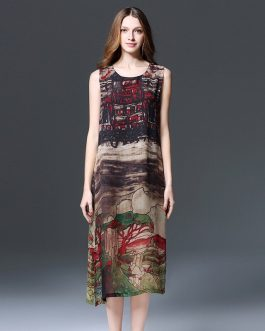 Women's fat mm hand-painted landscape painting chiffon Plus size Dress